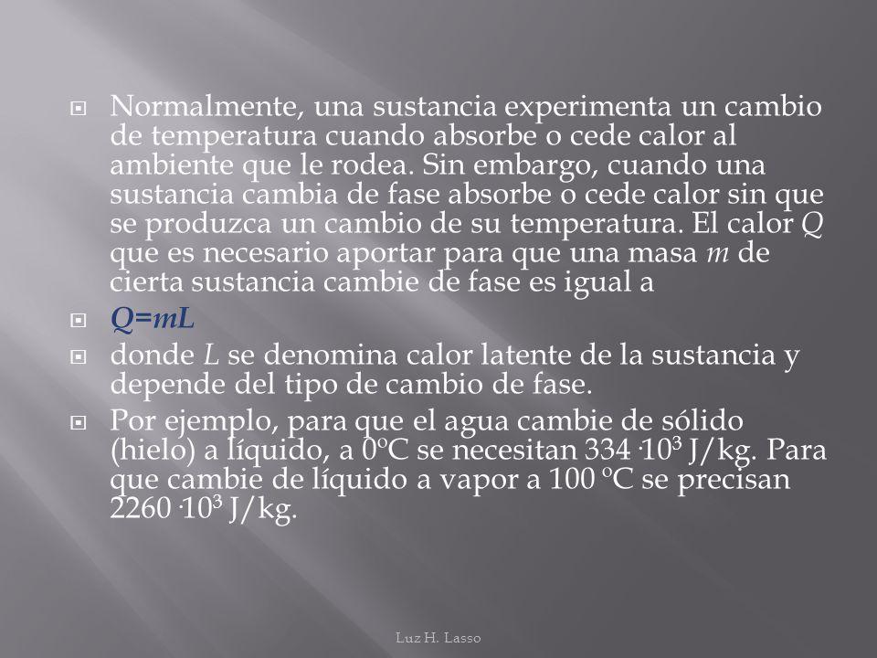 Normalmente, una sustancia experimenta un cambio de temperatura cuando absorbe o cede calor al ambiente que le rodea. Sin embargo, cuando una sustancia cambia de fase absorbe o cede calor sin que se produzca un cambio de su temperatura. El calor Q que es necesario aportar para que una masa m de cierta sustancia cambie de fase es igual a