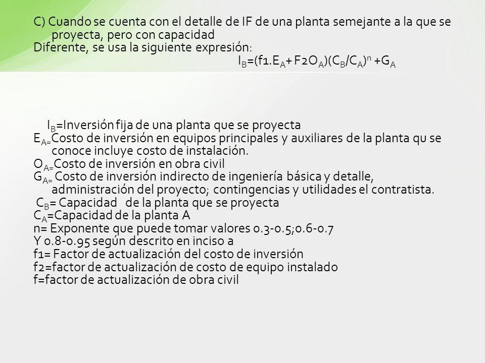 C) Cuando se cuenta con el detalle de IF de una planta semejante a la que se proyecta, pero con capacidad