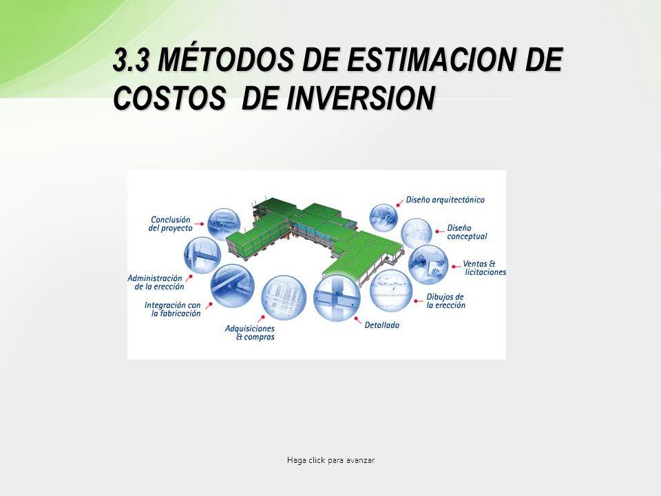 3.3 MÉTODOS DE ESTIMACION DE COSTOS DE INVERSION