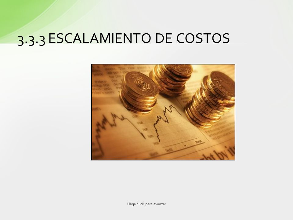 3.3.3 ESCALAMIENTO DE COSTOS