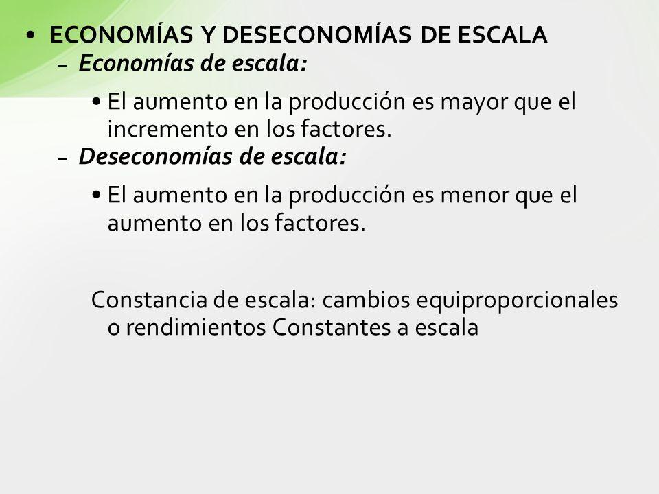 ECONOMÍAS Y DESECONOMÍAS DE ESCALA Economías de escala:
