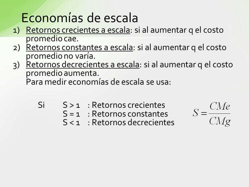 Economías de escala 1) Retornos crecientes a escala: si al aumentar q el costo promedio cae.