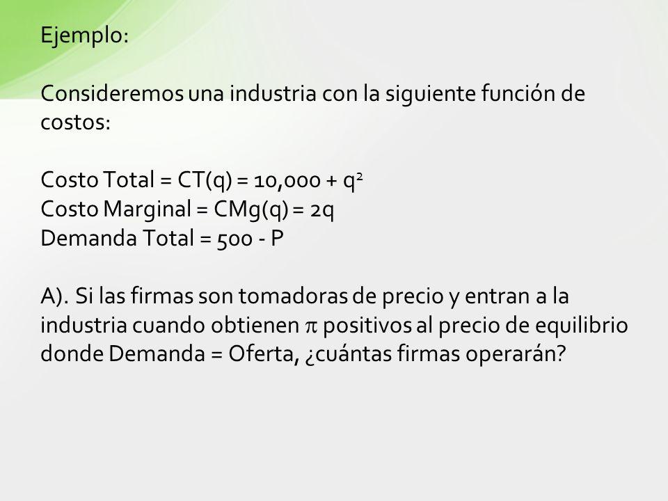 Ejemplo: Consideremos una industria con la siguiente función de costos: Costo Total = CT(q) = 10,000 + q2.
