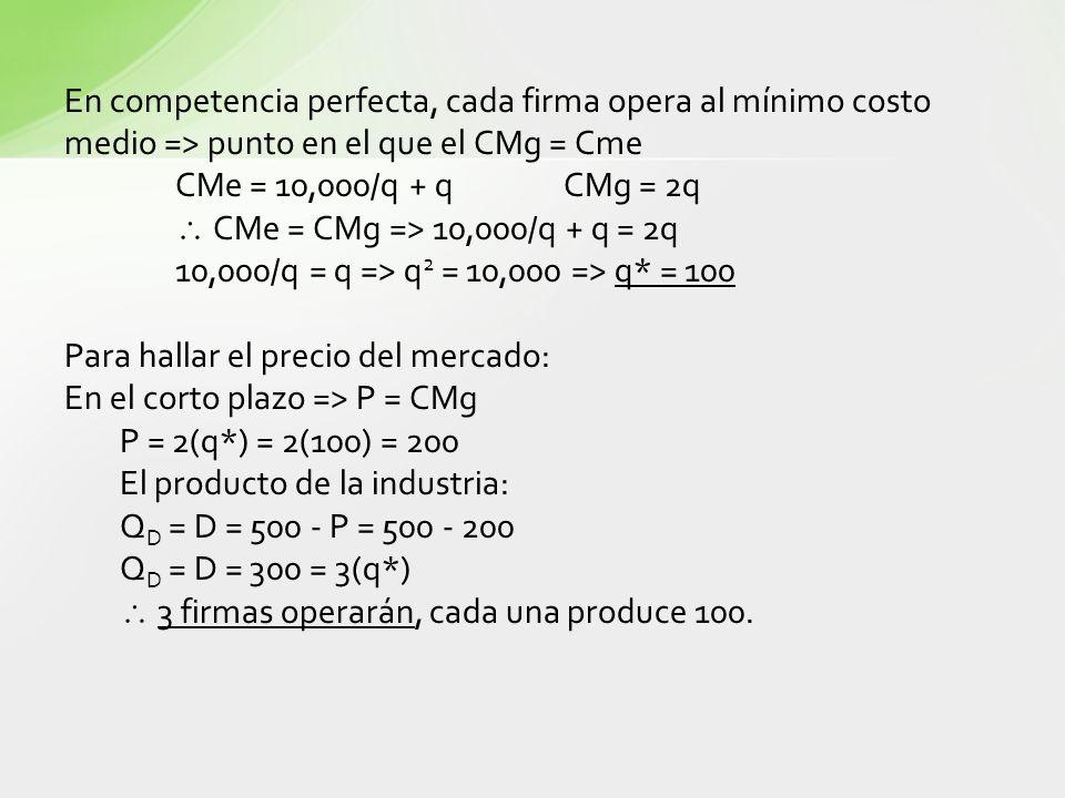 En competencia perfecta, cada firma opera al mínimo costo medio => punto en el que el CMg = Cme