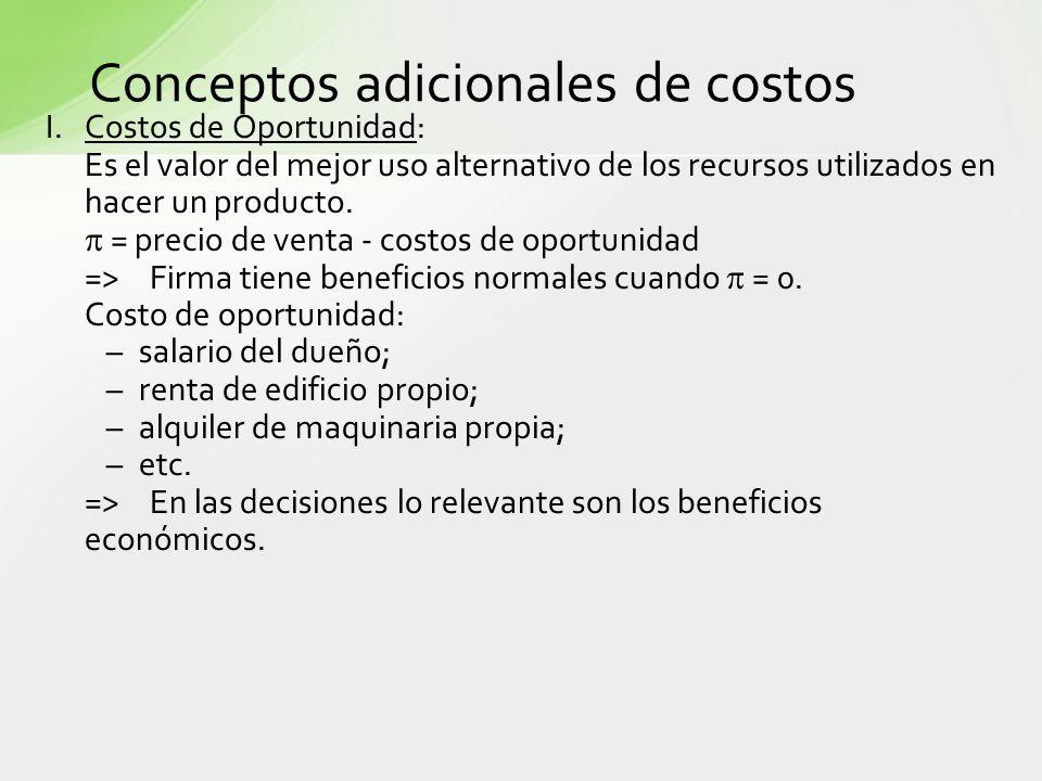 Conceptos adicionales de costos