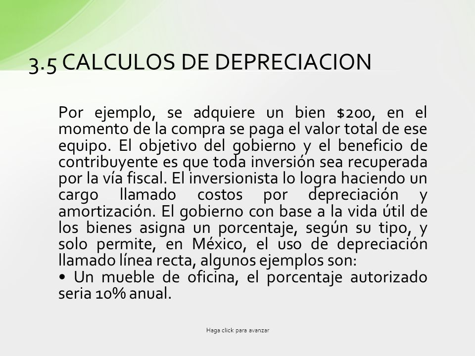 3.5 CALCULOS DE DEPRECIACION
