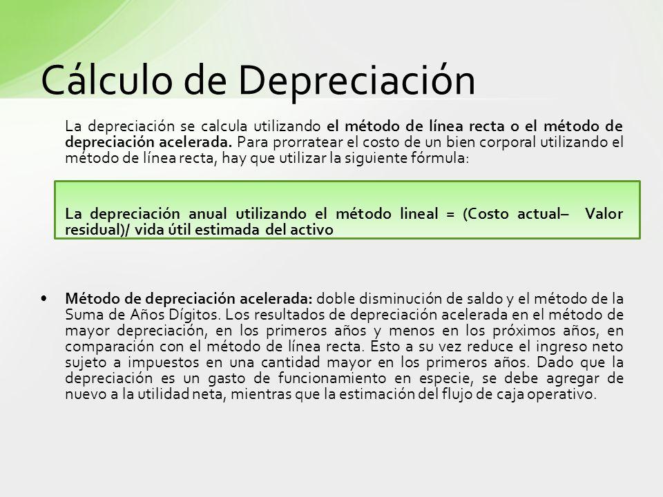 Cálculo de Depreciación