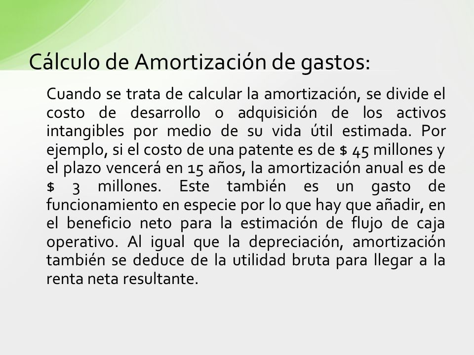 Cálculo de Amortización de gastos: