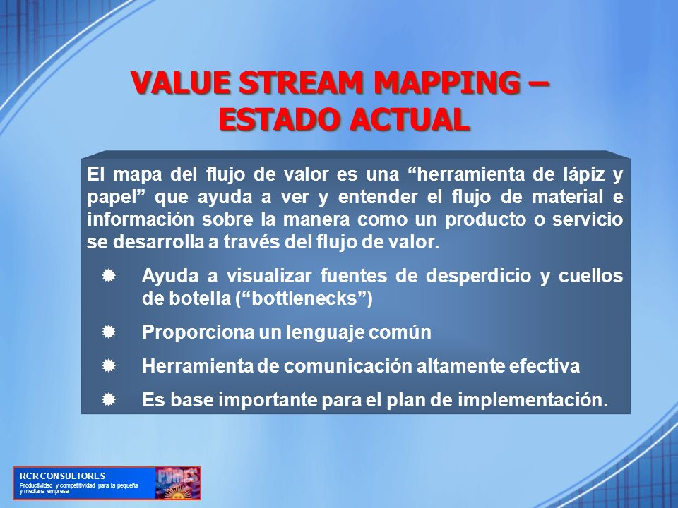 VALUE STREAM MAPPING – ESTADO ACTUAL