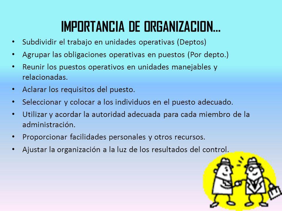 IMPORTANCIA DE ORGANIZACION…
