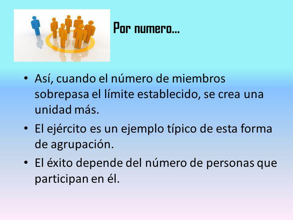Por numero… Así, cuando el número de miembros sobrepasa el límite establecido, se crea una unidad más.