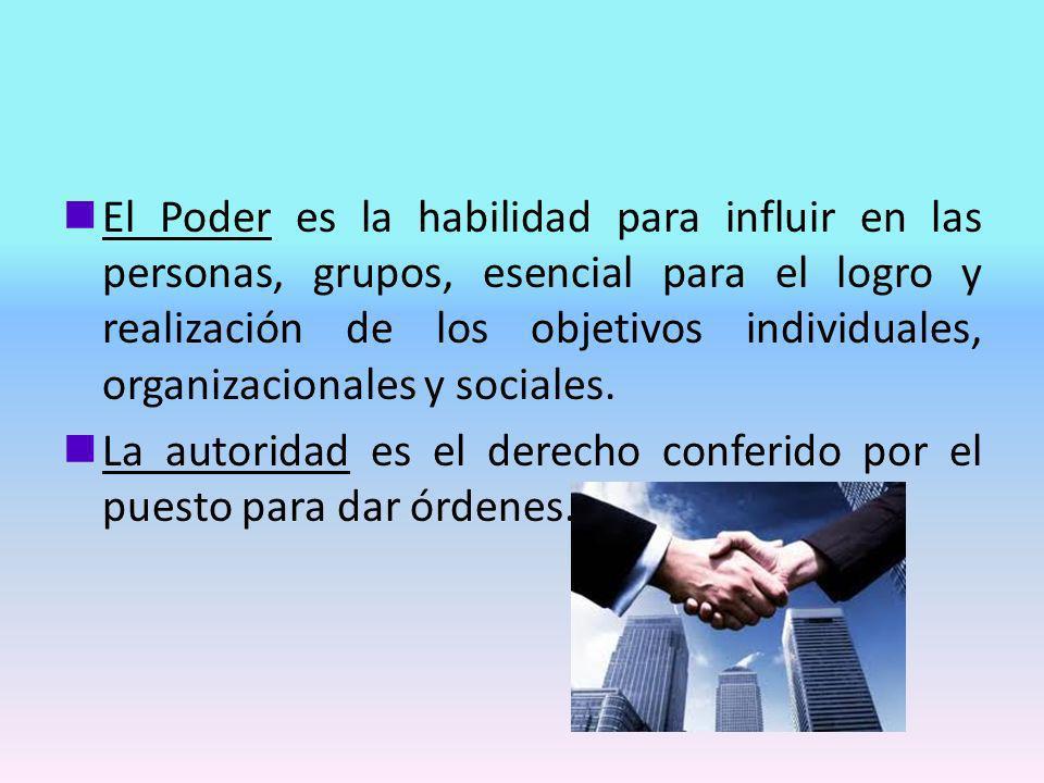El Poder es la habilidad para influir en las personas, grupos, esencial para el logro y realización de los objetivos individuales, organizacionales y sociales.