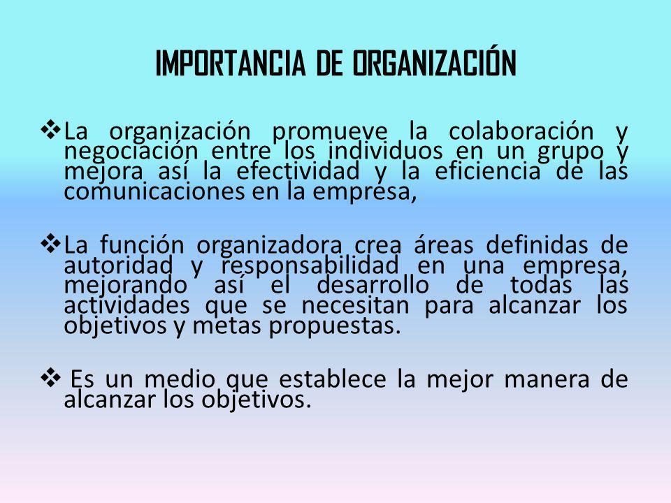 IMPORTANCIA DE ORGANIZACIÓN