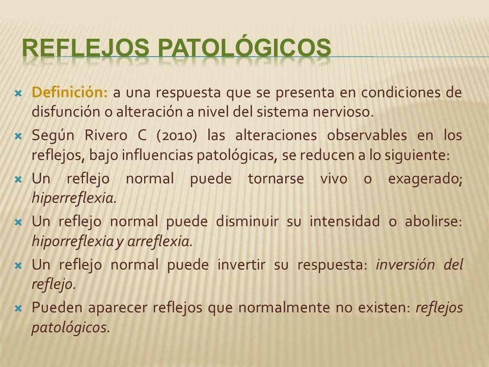 Reflejos Patológicos Definición: a una respuesta que se presenta en condiciones de disfunción o alteración a nivel del sistema nervioso.