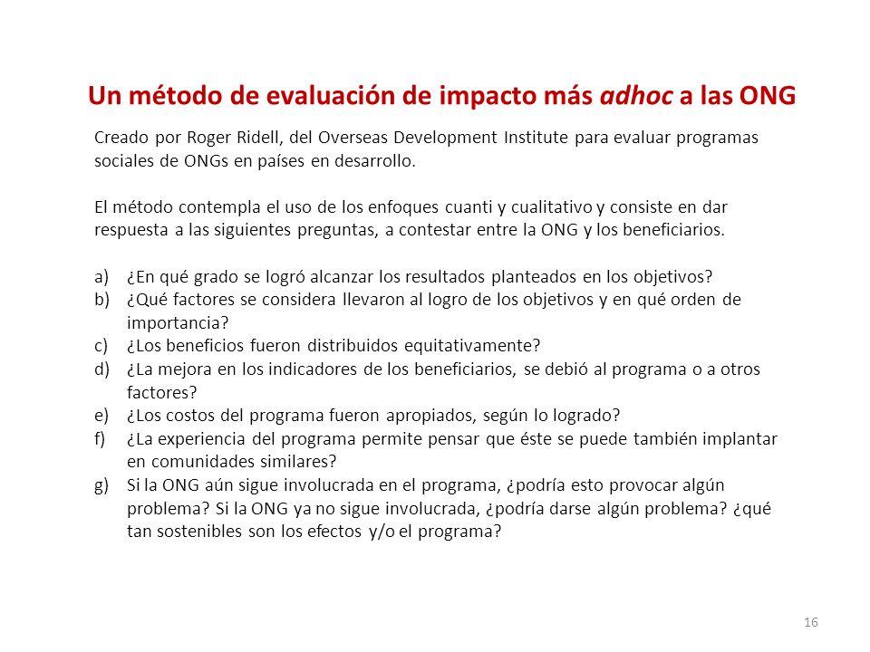 Un método de evaluación de impacto más adhoc a las ONG