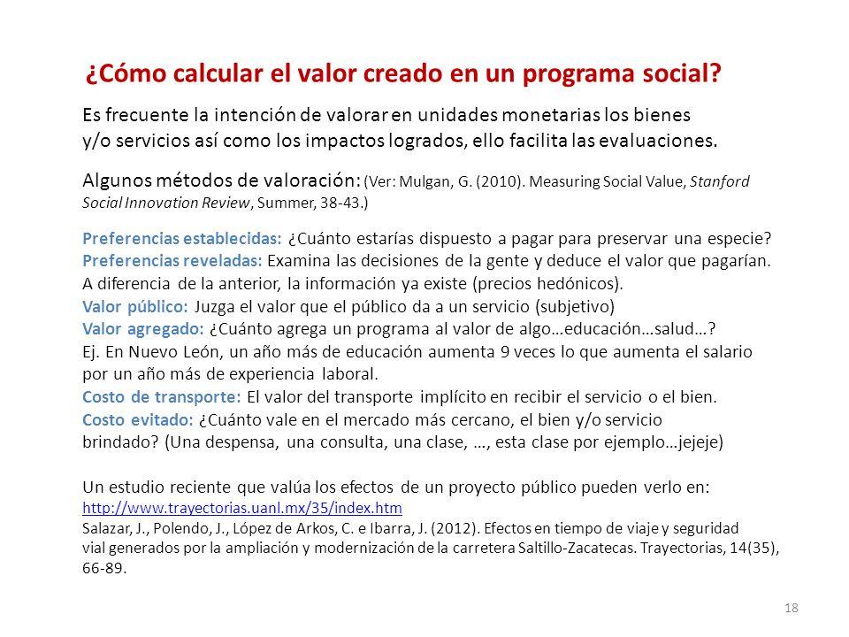 ¿Cómo calcular el valor creado en un programa social