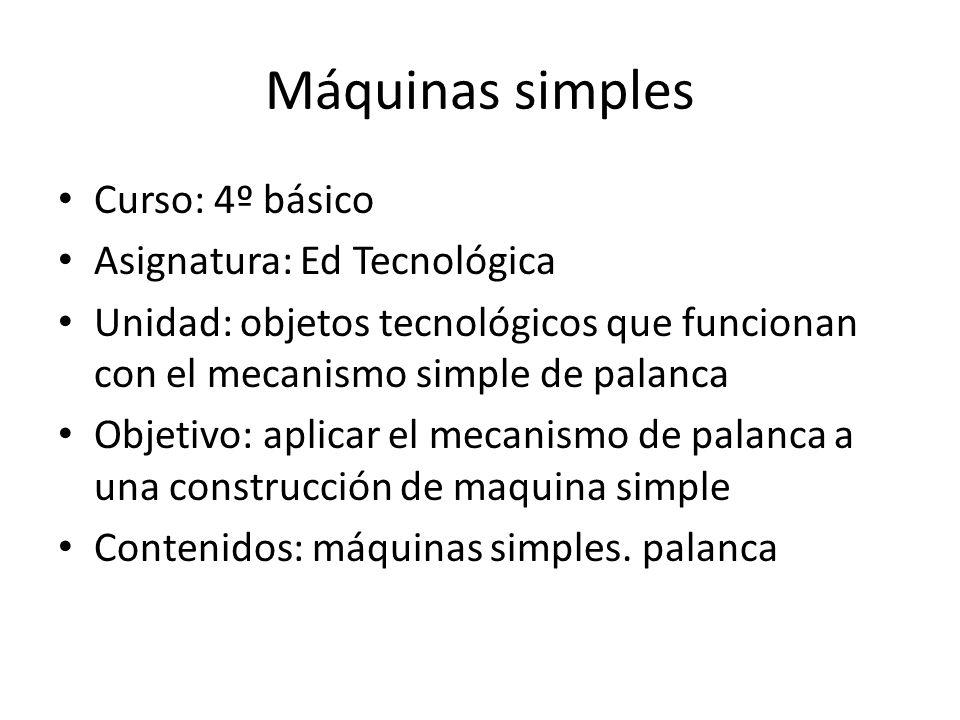 Máquinas simples Curso: 4º básico Asignatura: Ed Tecnológica