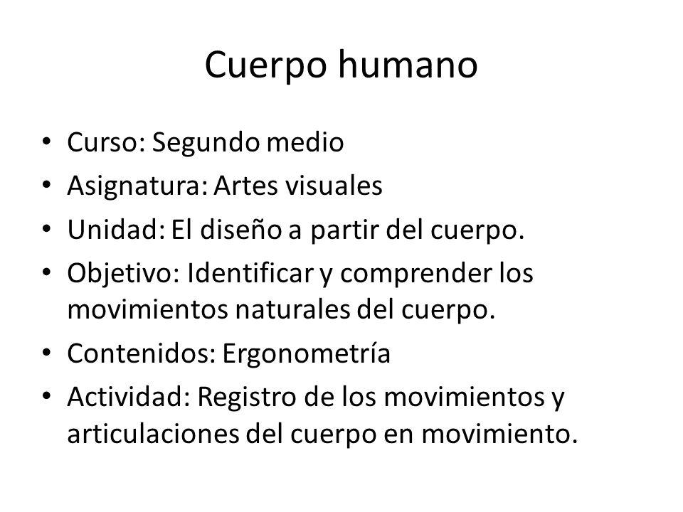 Cuerpo humano Curso: Segundo medio Asignatura: Artes visuales