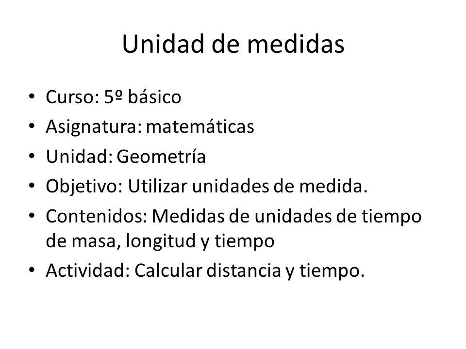 Unidad de medidas Curso: 5º básico Asignatura: matemáticas