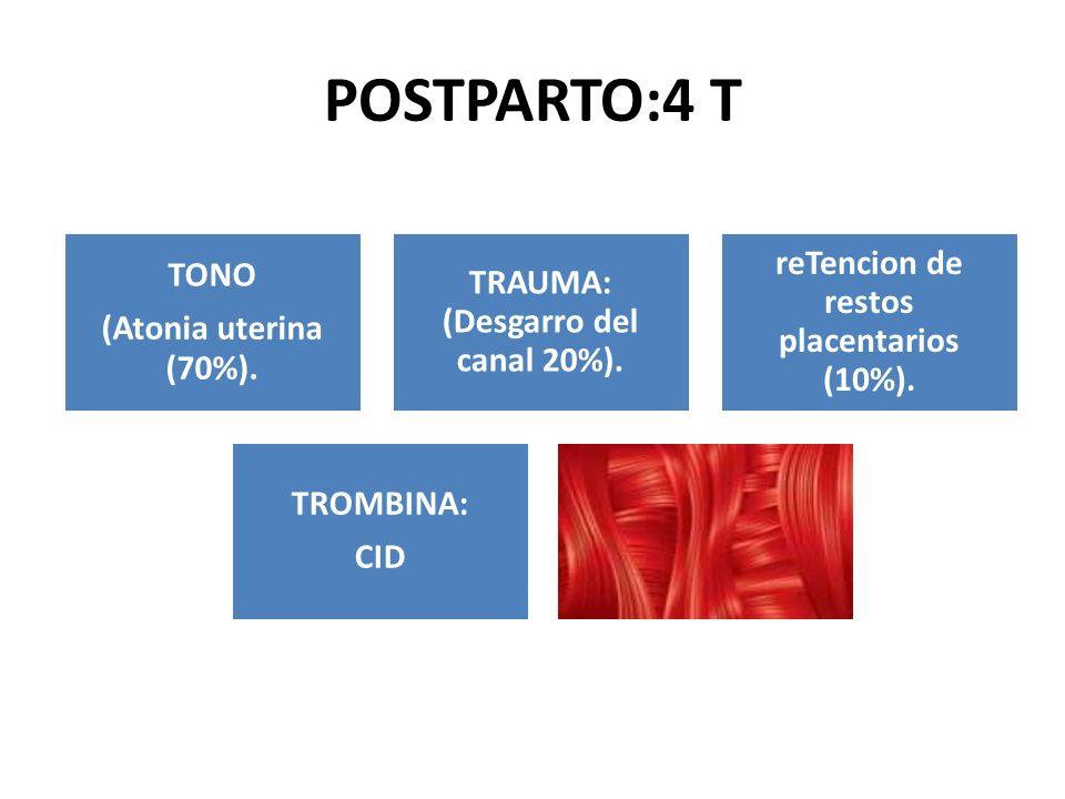 POSTPARTO:4 T reTencion de restos placentarios (10%). TONO