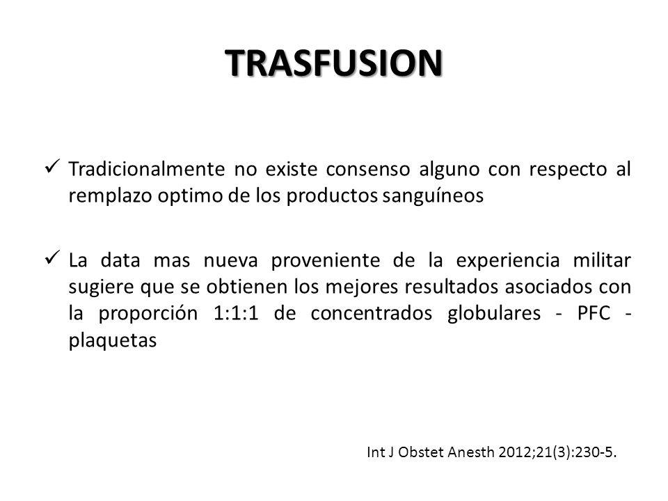 TRASFUSION Tradicionalmente no existe consenso alguno con respecto al remplazo optimo de los productos sanguíneos.