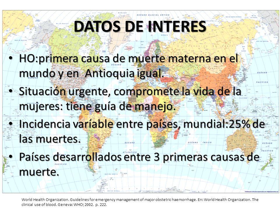 DATOS DE INTERES HO:primera causa de muerte materna en el mundo y en Antioquia igual.