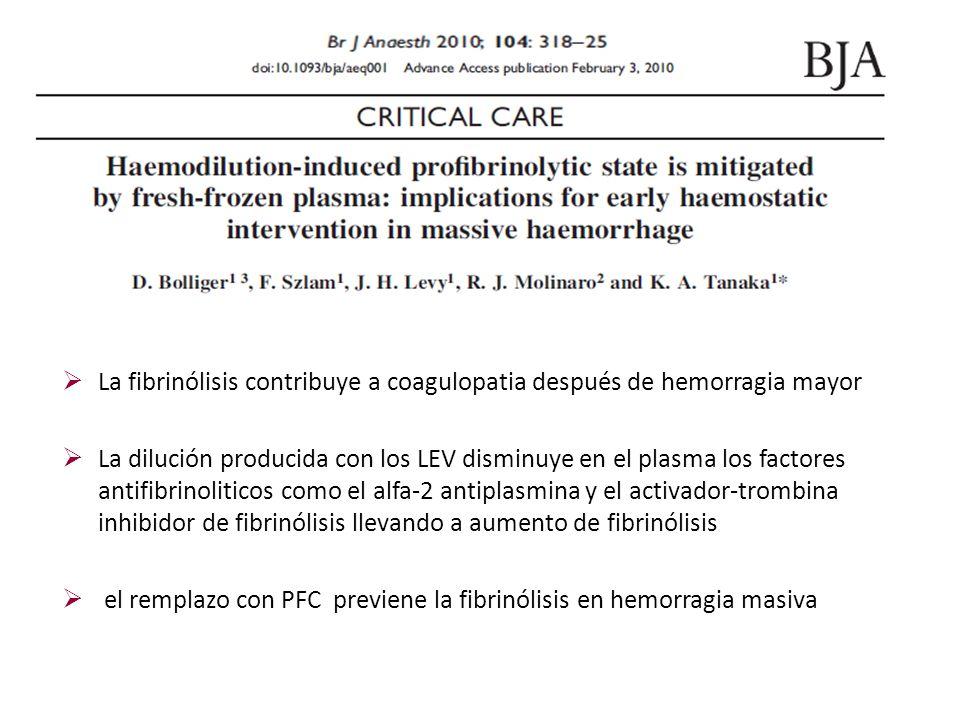 La fibrinólisis contribuye a coagulopatia después de hemorragia mayor