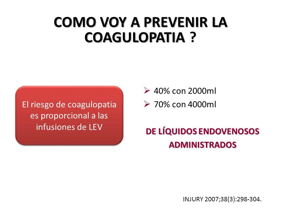 COMO VOY A PREVENIR LA COAGULOPATIA DE LÍQUIDOS ENDOVENOSOS