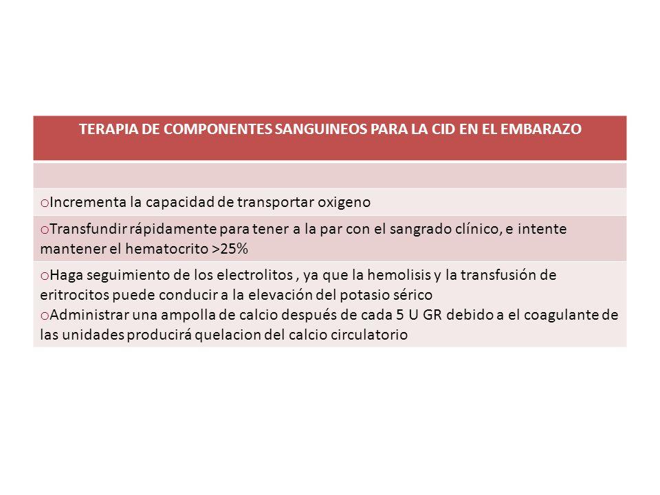 TERAPIA DE COMPONENTES SANGUINEOS PARA LA CID EN EL EMBARAZO
