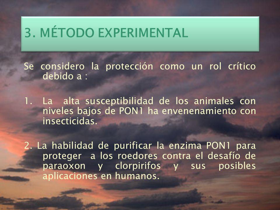 3. MÉTODO EXPERIMENTAL Se considero la protección como un rol crítico debido a :