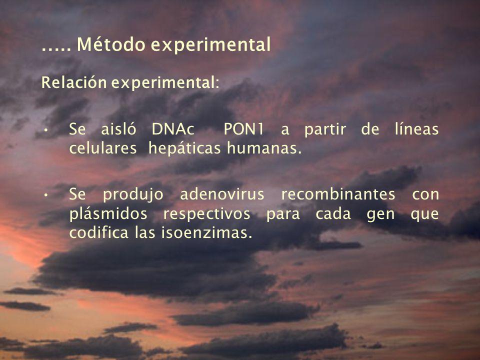 ..... Método experimental Relación experimental:
