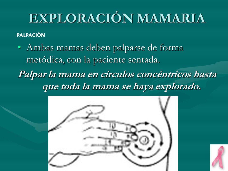 EXPLORACIÓN MAMARIA PALPACIÓN. Ambas mamas deben palparse de forma metódica, con la paciente sentada.