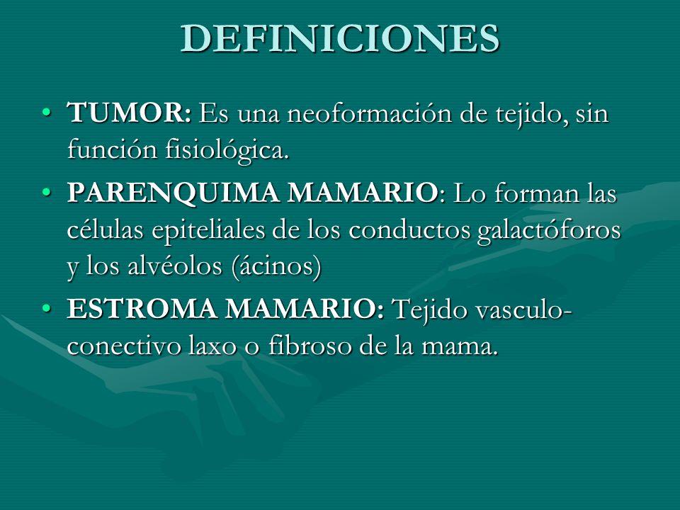 DEFINICIONES TUMOR: Es una neoformación de tejido, sin función fisiológica.