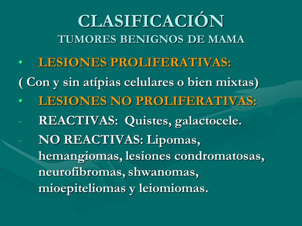 CLASIFICACIÓN TUMORES BENIGNOS DE MAMA