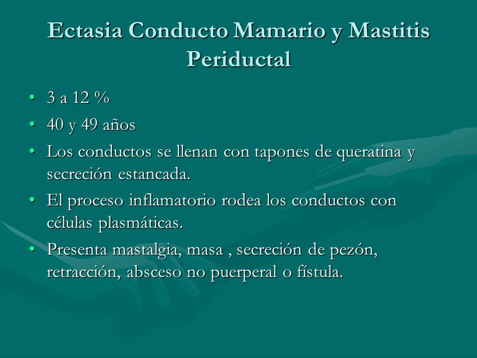Ectasia Conducto Mamario y Mastitis Periductal