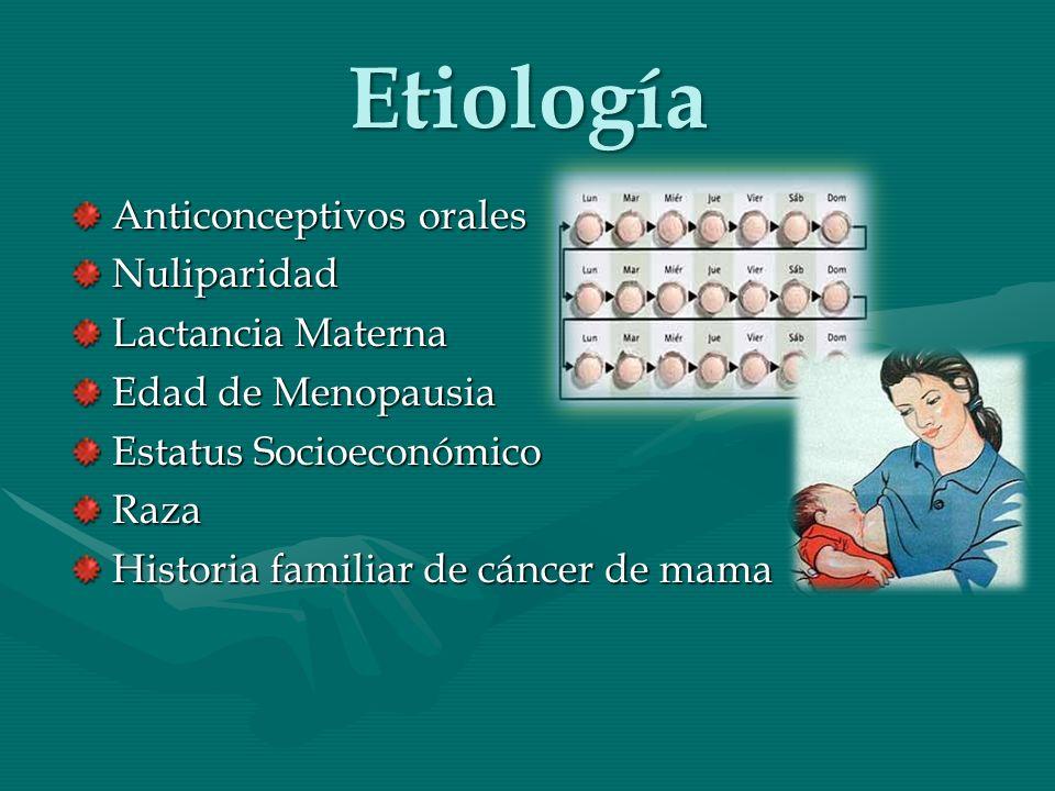 Etiología Anticonceptivos orales Nuliparidad Lactancia Materna