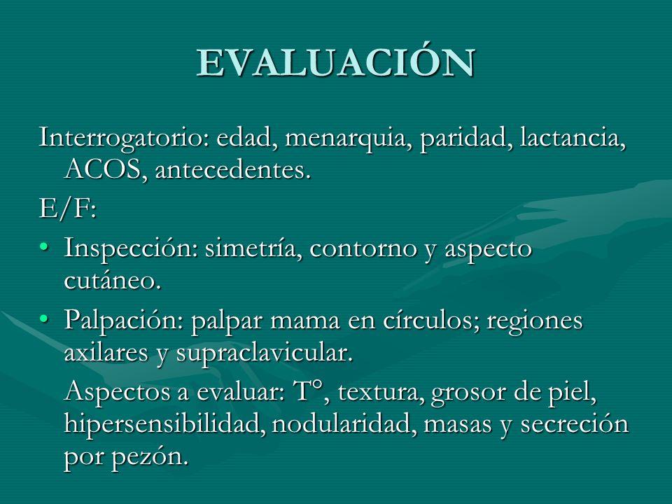 EVALUACIÓN Interrogatorio: edad, menarquia, paridad, lactancia, ACOS, antecedentes. E/F: Inspección: simetría, contorno y aspecto cutáneo.