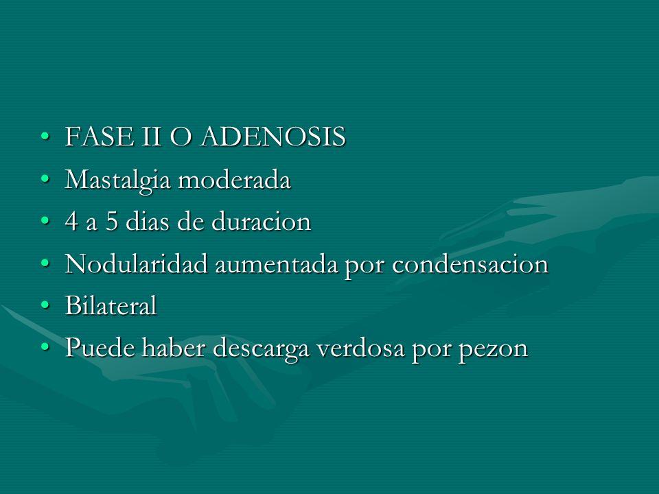 FASE II O ADENOSIS Mastalgia moderada. 4 a 5 dias de duracion. Nodularidad aumentada por condensacion.