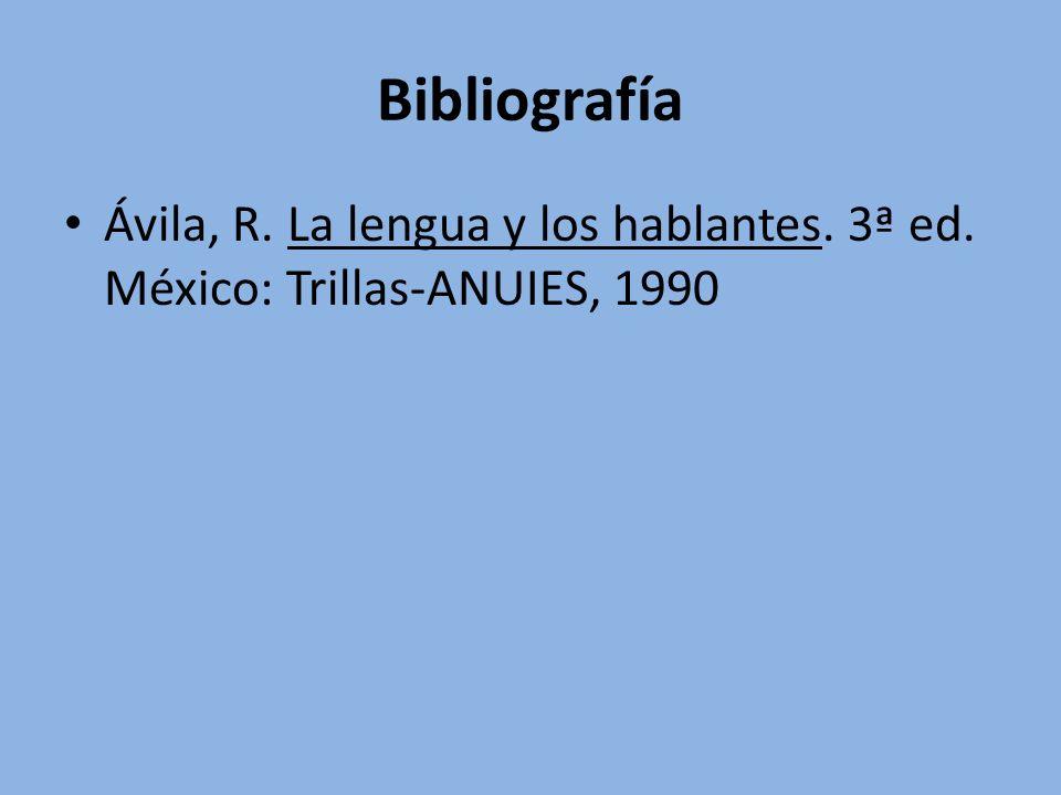 Bibliografía Ávila, R. La lengua y los hablantes. 3ª ed. México: Trillas-ANUIES, 1990
