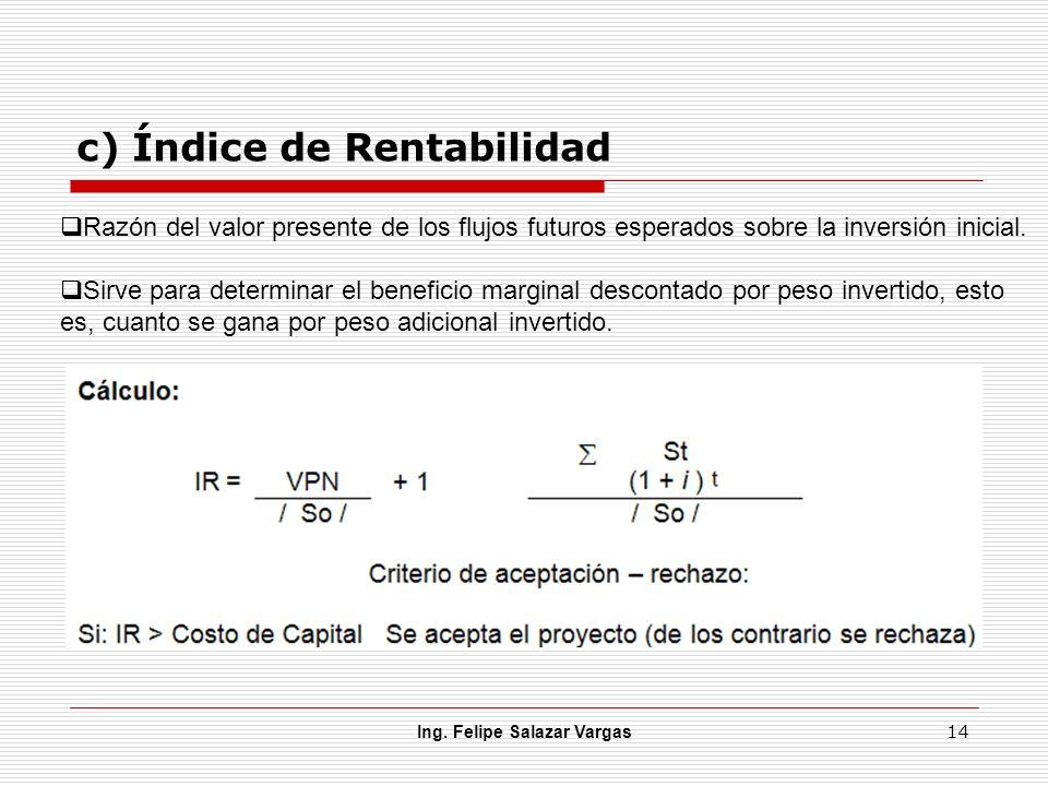 c) Índice de Rentabilidad