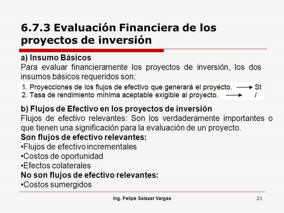 6.7.3 Evaluación Financiera de los proyectos de inversión