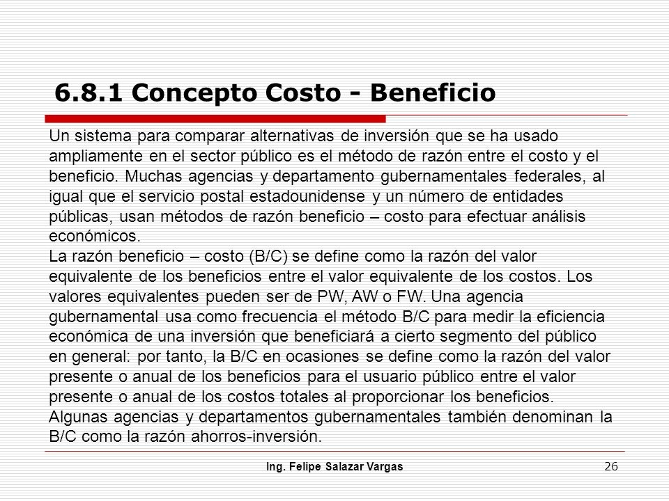 6.8.1 Concepto Costo - Beneficio