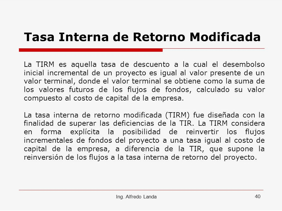 Tasa Interna de Retorno Modificada