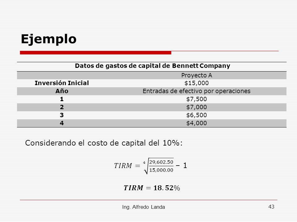 Datos de gastos de capital de Bennett Company
