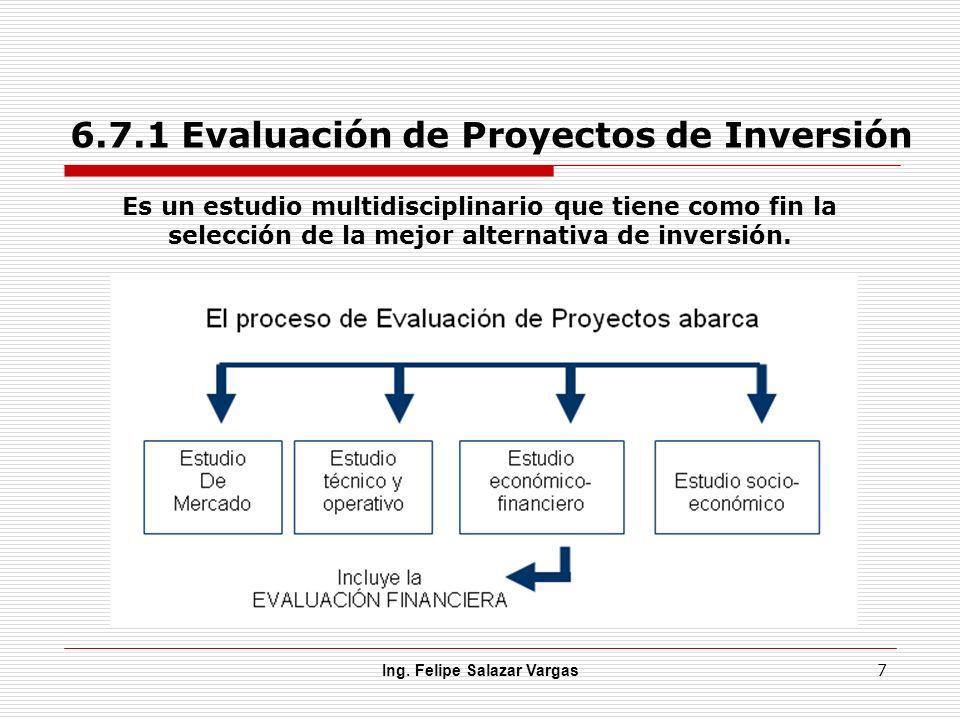 6.7.1 Evaluación de Proyectos de Inversión