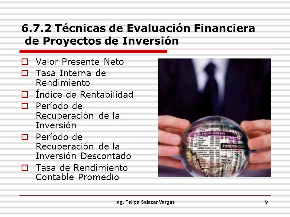 6.7.2 Técnicas de Evaluación Financiera de Proyectos de Inversión
