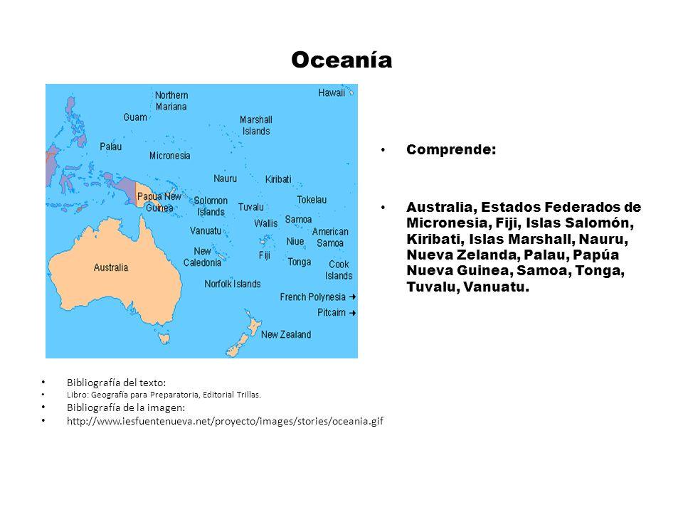 Oceanía Comprende:
