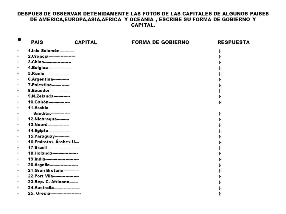 PAIS CAPITAL FORMA DE GOBIERNO RESPUESTA