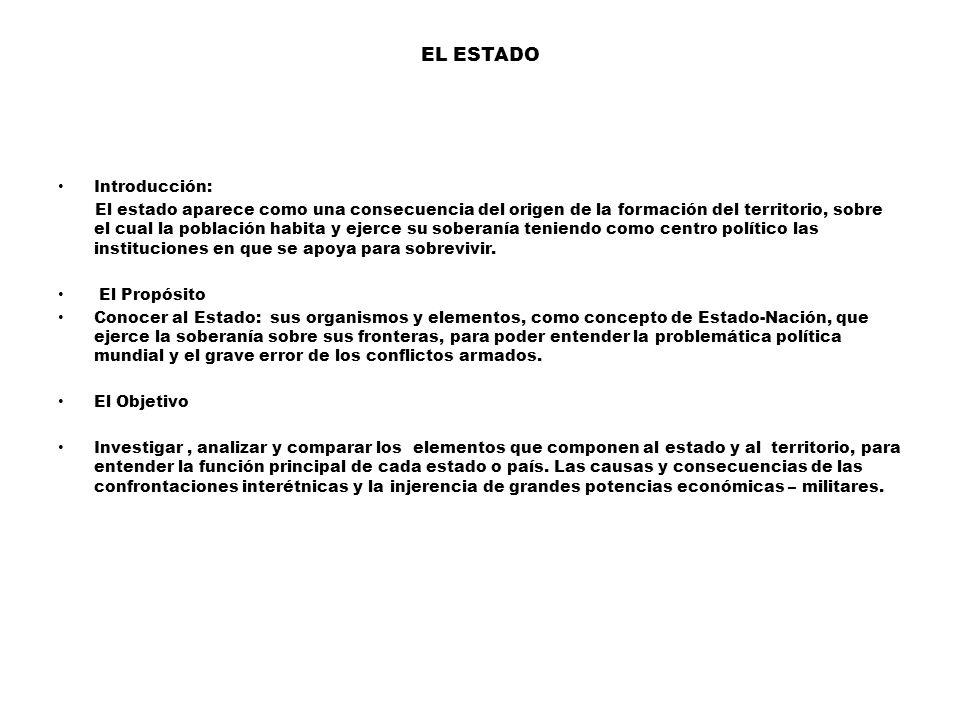 EL ESTADO Introducción:
