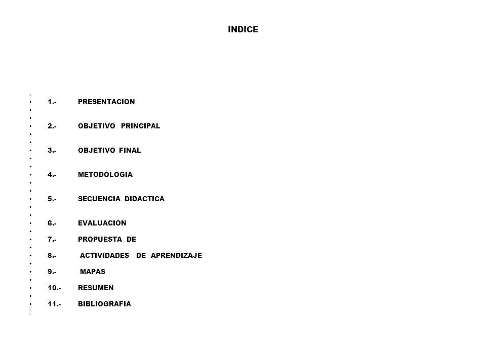 INDICE 1.- PRESENTACION 2.- OBJETIVO PRINCIPAL 3.- OBJETIVO FINAL